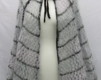 Hand knitted Mohair Cobweb cape