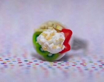 Miniature Food Ring Ice Cream Fruit Sundae Frozen Yogurt with adjustable ring band