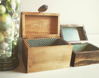 Recipe Box Personalized Rustic Wooden 4x6 index cards