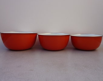 Enamelware Solid Color Mixing Bowls Set of 3, Vintage 70's Brand New