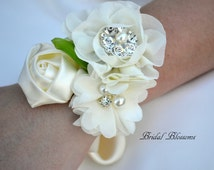 BEST SELLER Ivory Chiffon Satin Flower Wrist Corsage | Vintage Inspired Wedding | Mother of the Bride | Bridal Shower | Easter | Boutonniere