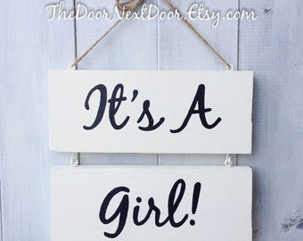Its A Girl Sign - Birth Announcement Door Hanger - Baby Girl Wreath - Gender Reveal Decoration - Hospital Door Hanger
