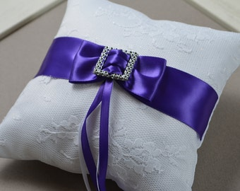 Wedding Ring Pillow - ring pillow in white lace and purple ribbon band.  SW701.