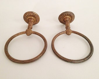 Reserved for A. Pair of Antique Bronze Towel Holder - Bronze Towel Ring