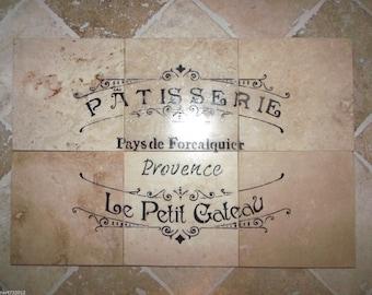 "French Country Script: Bakery Or Cafe Paris 100% Travertine  Backsplash Tiles Set 12"" x 18"""