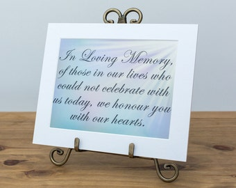 Wedding Remembrance Sign, In Loving Memory Sign, Wedding Signs, Church Remembrance