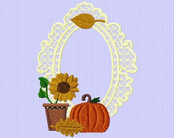 set of 6 embroidery on autumn designs 4 x 4 instant download