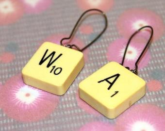 Scrabble / WA earrings, handmade