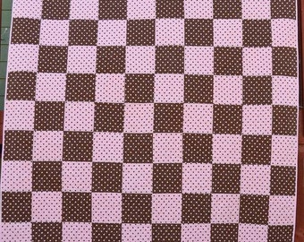 Pink and Brown Polka Dot Quilt