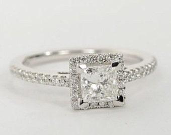 1.00  carat CZ princess cut halo  engagement ring , sterling silver