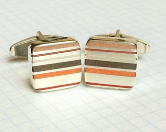 Sterling Silver Striped Resin Inlay Cufflinks Red and Brown