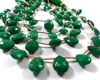 Emerald Briolette, 10 Inch