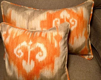 "12"" Decorative Abstract Corded Pillow Cover - Orange and Beige 12x12"""