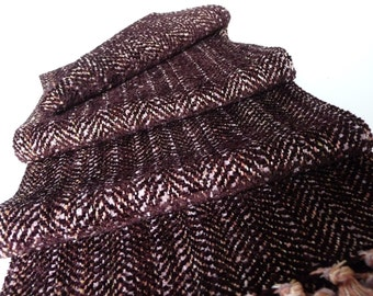 Handwoven Soft Chenille/ Brown Herringbone Weave Scarf