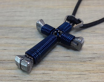 Dark Blue Nail Cross Necklace. Boys Cross Necklace. Mens Cross Necklace. Free Shipping.
