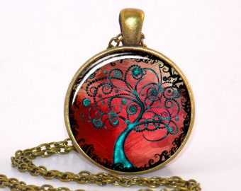 Tree of Life Art necklace, Glass tile Red Tree pendant jewelry