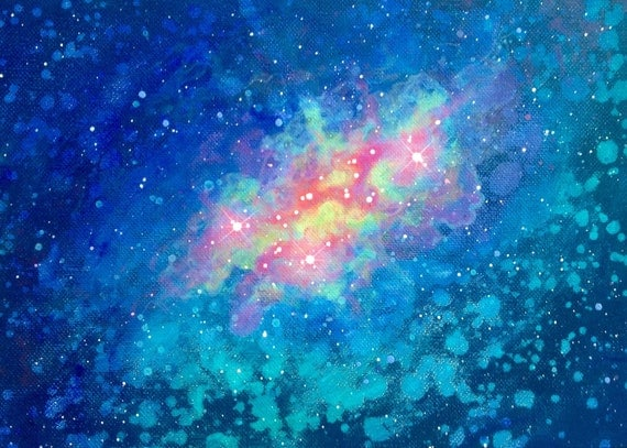Watercolor Effect Space Nebula Acrylic Painting 11x
