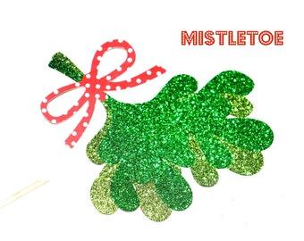 Glitter Mistletoe on a stick - Holiday Photo Booth Props - Christmas Props - Mistletoe Prop