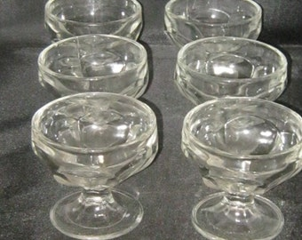 Set Of Six Vintage Footed Clear Glass Sherbert/Ice Cream Dishes