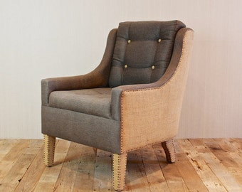 Two Custom Made Hemp and Burlap Chairs with Vintage Nail Heads