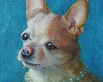 Pet Portrait, Chihuahua Oil Portrait, Painting, Dog, Pet