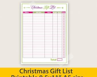 Gift List, Christmas Gift List, Shopping List, PDF shopping list - PDF Printable File - Instant Digital Download
