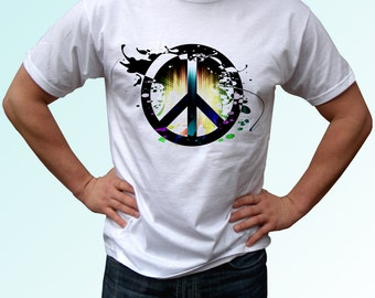 Peace symbol - new white t shirt print design 100% cotton - Mens, womens, kids & baby clothing - all sizes!Newv