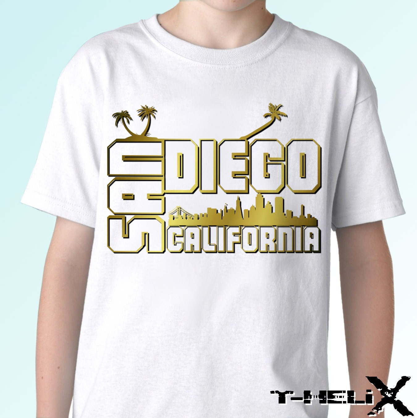 San Diego New White T Shirt City California Us State Print
