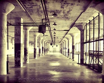San Francisco Photography – An empty hallway of the Alcatraz Island prison in San Francisco
