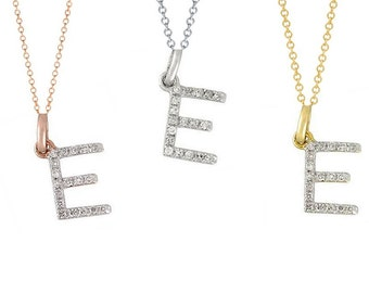 Tousi Jewelers Diamond Letter Necklace -E Alphabet Pendant -Solid 14K Gold- Gold Letter Necklace- 0.09 CT White Color Stone-Initial Jewelry