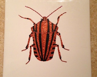 Ceramic Tile Painting. Original. Shield Bug plaque Beetle creepy crawlie bug insect