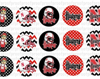 Nebraska Cornhuskers Inspired Bottle Cap Images