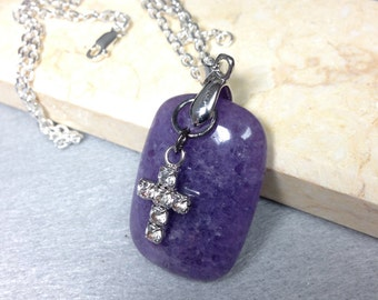 Purple stone pendant cross charm necklace everyday jewelry gift for her