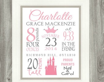 Birth Stat Personalized Girls Princess Art Print, 8x10 digital file