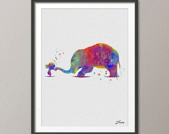 Elephant Print Elephant watercolor Elephant art illustration Elephant poster wall decor wall hanging art decor Elephant poster gift A026