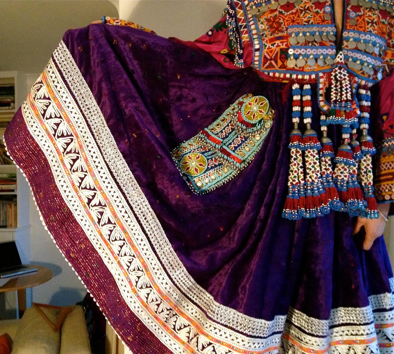 Beautiful Vintage Purple Traditional Afghan Kuchi Ethnic