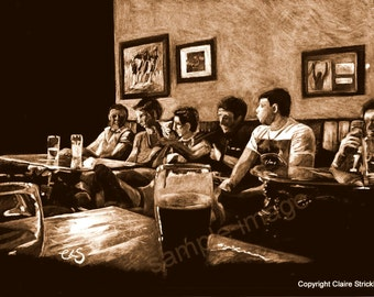 The Big Match, Lads Night Out - Giclee Sepia Print of Original Pencil Drawing by English Artist Claire Strickland