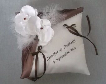 Embroidered, white (or ivory) wedding ring cushion orchids and chocolate brown
