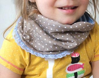 infinity, toddler,scarf,dotts,rose, beige, warm,baby, stars, children clothes, bandana bibs,lace,ribbon, lace band,romantic,dott,