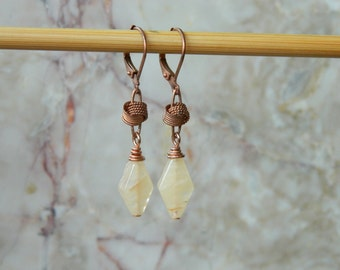 Yellow jade and antiqued copper handmade earrings