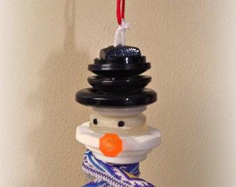 Vintage Button Snowman Ornament Decoration Hanger
