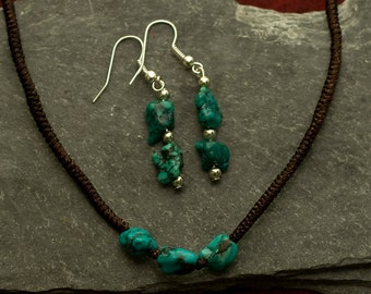 16 inch Necklace with turquoise stones and matching Earrings