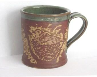 Coffee mug - hand carved nesting birds