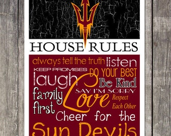 Arizona State Sun Devils House Rules 4x4.1/2 Fridge Magnet