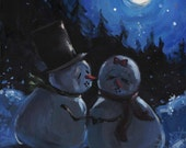 Mr Snowman Steals a Kiss, original,  painting, acrylic, print, wall decor,christmas, gift, wall hanging, wall art print,