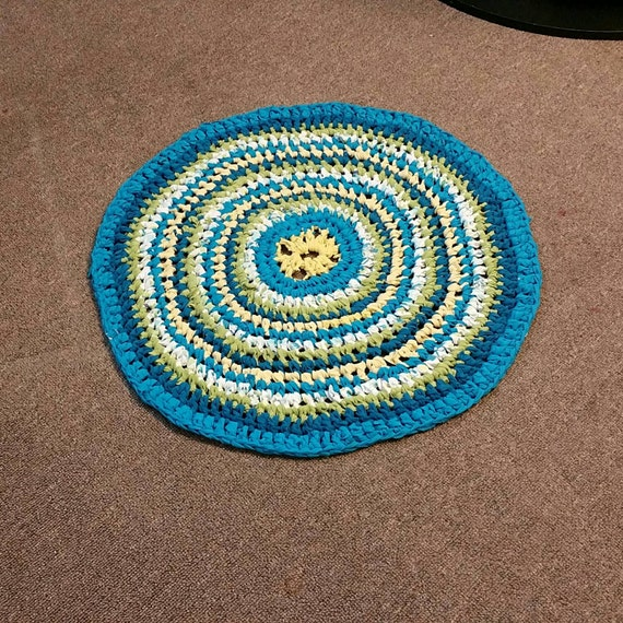 Items Similar To Multicolored, Round Rag Rug. Teal Blue