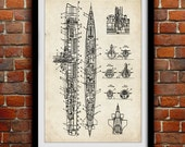 Submarine Schematic - Nautical Sea Decor - Patent Print Poster Wall Decor - 0113