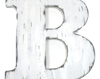 Nursery wooden letter B wood letter 12 inch wood letter wall decor letters wedding guest book letters home decor painted Vintage White
