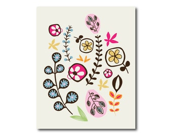 Nursery or Girl's Room Floral Art Print, Digital Instant Download