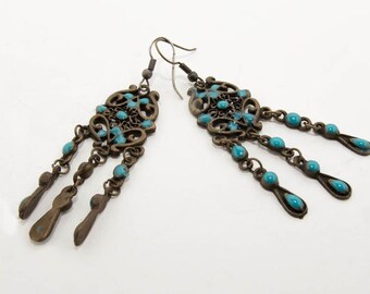 Vintage bronze earrings with turquoise 7143